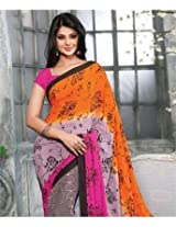 Poly Crepe Saree with Blouse