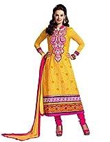 De Marca Yellow Yellow Designer 8563 Dress Material