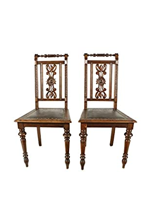 Pair of New Renaissance Style Chairs, Brown