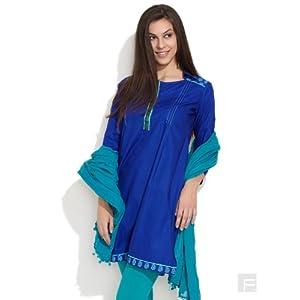 Work Ready Kurta With Shirt Collar-Medium Blue-L