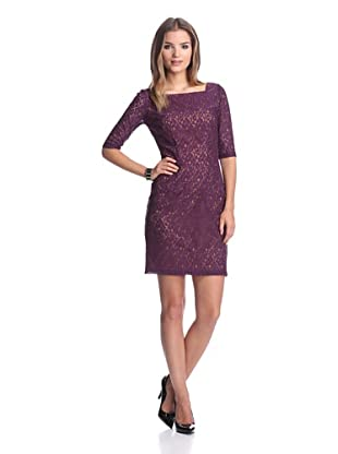 Single Women's Hepburn Lace Dress (Eggplant Lace)
