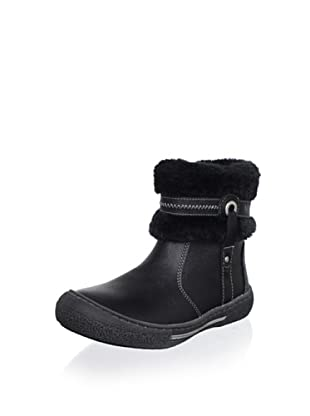 Billowy Kid's Faux Fur-Trimmed Ankle Boot (Black)