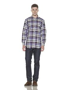 Shirt by Shirt Men's Plaid Long Sleeve Button-Up Shirt (Black/Purple)