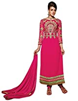 Vibes Womens Georgette Patch Work Straight Unstitched Dress Material (V203-8003 _Pink)