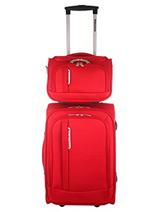 Platinium Set Trolley & Beauty Case (Rot)