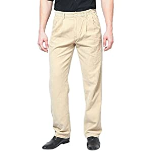 Solid Corduroy Beige Casual Trouser