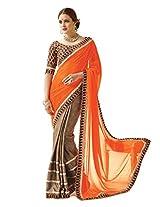 Inddus Women Brown & Orange Half & Half Fashion Saree
