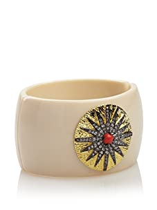 CZ by Kenneth Jay Lane Starburst Hinged Bangle, Ivory/Gold/Coral