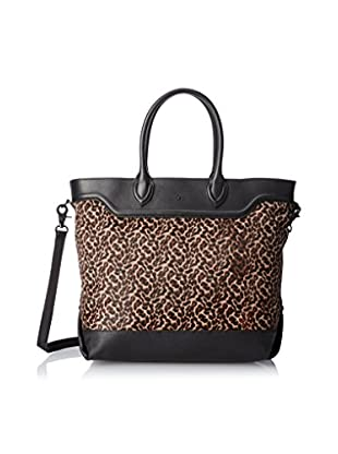 ASH Women's Smith Tote Bag, Black/Smog Leopard
