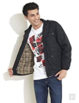 Quilted Wind Cheater Jacket-Black-S