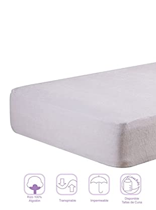 Pikolin Protector de Cuna Rizo Impermeable (Blanco)