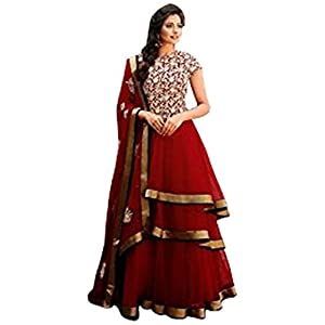 Red Designer Anarkali Suit-TBSUFLO7290