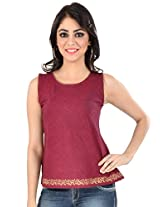 Mangalgiri Cotton Block Printed Bias Top-S