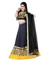 Astha Fashion self Design Yellow and Grey Emboidery work Lahenga