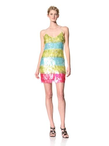 Theia Women's Striped Paillette Slip Dress (Lemon Popsicle)