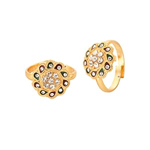 Voylla Crystal Studded Core Gold Tone Toe Rings