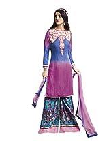 Light Pink Colour Faux Cotton Party Wear Paisley & Patch Embroidery Print Plazo Suit (Jinaam) 9080B