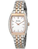 Bulova Diamond Analog White Dial Women's Watch - 98R200