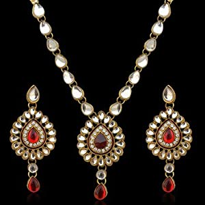 Ethnic Work Necklace Set b160m - Maroon and White