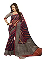 Blue Red Color Art Bahgalpur Silk Saree with Blouse 12542