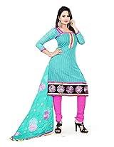 Livaaz Women Cotton & Crush Dress Material (Sf100530 _Aqua)
