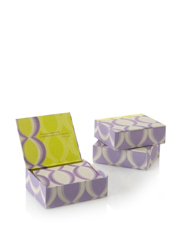 Mudlark Set of 3 Memento Boxed Notes, Purple/Green