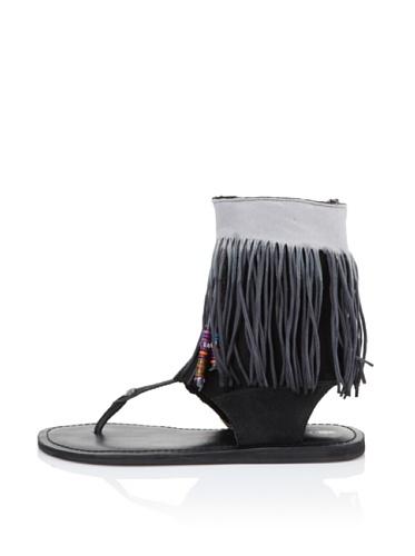 Koolaburra Women's Kythira Fringed Thong Sandal (Black)