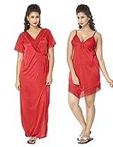 KuuKee Women's Satin Red colored nightwear (10036_Red_L)