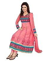Khushali Women's Georgette Unstitched Anarkali Salwar Suit dress material (Gajri)