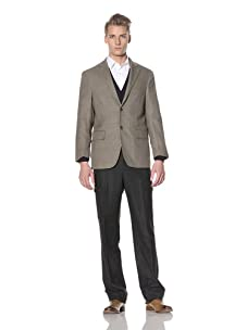 David Chu Men's Glen Plaid 2-Button Sport Jacket (Brown)