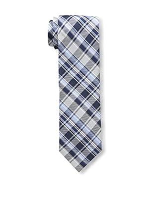 Bruno Piattelli Men's Plaid Tie, Silver Navy