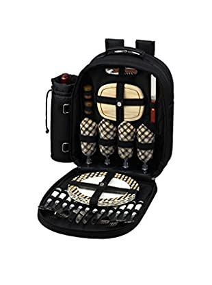 Picnic At Ascot Backpack For 4, Black/Tan