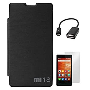 DMG Durable PU Leather Flip Cover Case for Xiaomi Redmi 1s (Black) + Screen Guard + USB OTG Cable