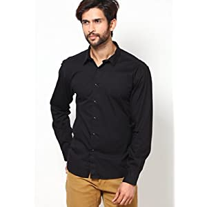 Classic Solid Black Colored Full Sleeves Casual Wear Shirt By VOI