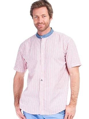 Cortefiel Camisa Mao Rayas (Rosa / Blanco / Azul)