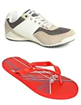 Gas Blackie Brown And Beige Men Casual Shoes with Lotto Slippers