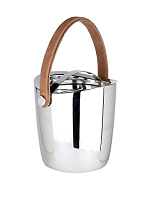 Sidney Marcus Boca Ice Bucket with Leather Handle, Silver