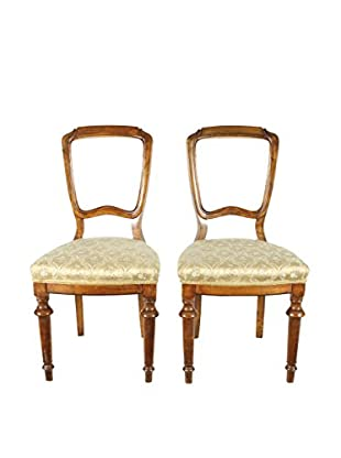 Pair of French Walnut Chairs, Brown/Gold
