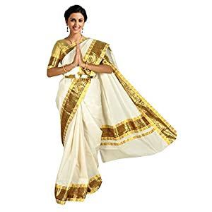 Atex Cotton Saree with Blouse (5146_Ivory)