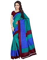 Silk Bazar Women's Tassar Silk Saree with Blouse Piece (Green & Blue)