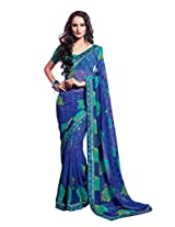 Blue and Green Color Chiffon Georgette Saree with Border and Blouse 6218