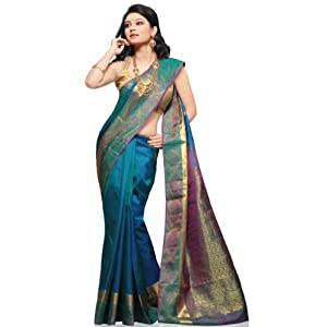 Blue Shot Tone Pure Kanchipuram Handloom Silk Saree with Blouse