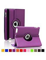 2010kharido 360 Rotating PU Leather Case Cover For Apple ipad 2 3 and New ipad 4 Purple