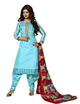 Suchi Fashion Blue Cotton Heavy Embroidered Patiyala Suit Dress Material
