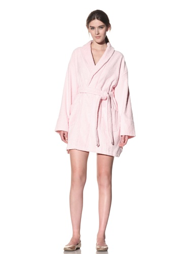 Aegean Apparel Women's Zero Twist Terry Loop Robe (Light Pink)