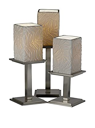Justice Design Group Limoges 3-Light Montana Leaf Table Lamp, Brushed Nickel