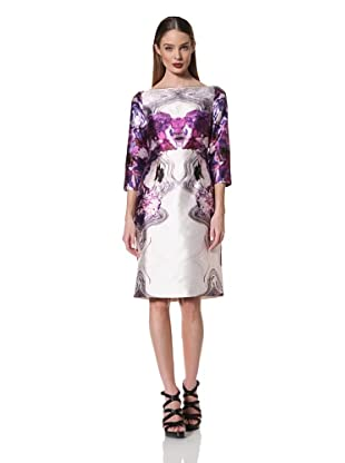 Prabal Gurung Women's 3/4 Sleeve Boatneck Dress (Purple Floral)