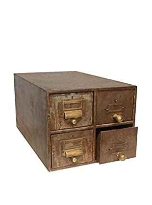Vintage Card Cabinet with Drawer Pulls I, Army Brown Green