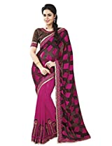 Vibes Georgette Patch Work Saree (S10-7324B _Multi-Coloured)