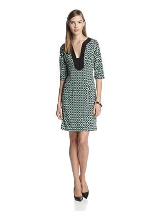 Melissa Masse Women's V-Neck 3/4 Sleeve Dress (Jade Tile/Black Trim)